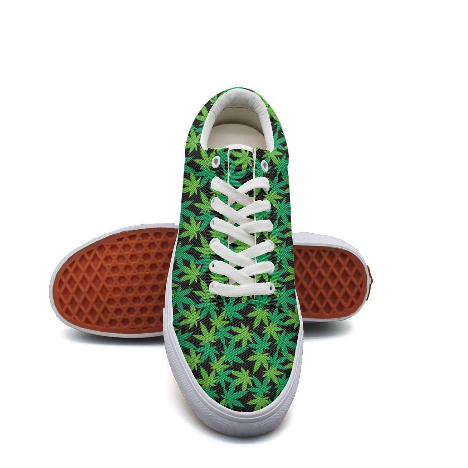 Opr7 Black Background Green Cannabis Women Lace-Up Skate Shoes Canvas Upper Sneaker Fashion