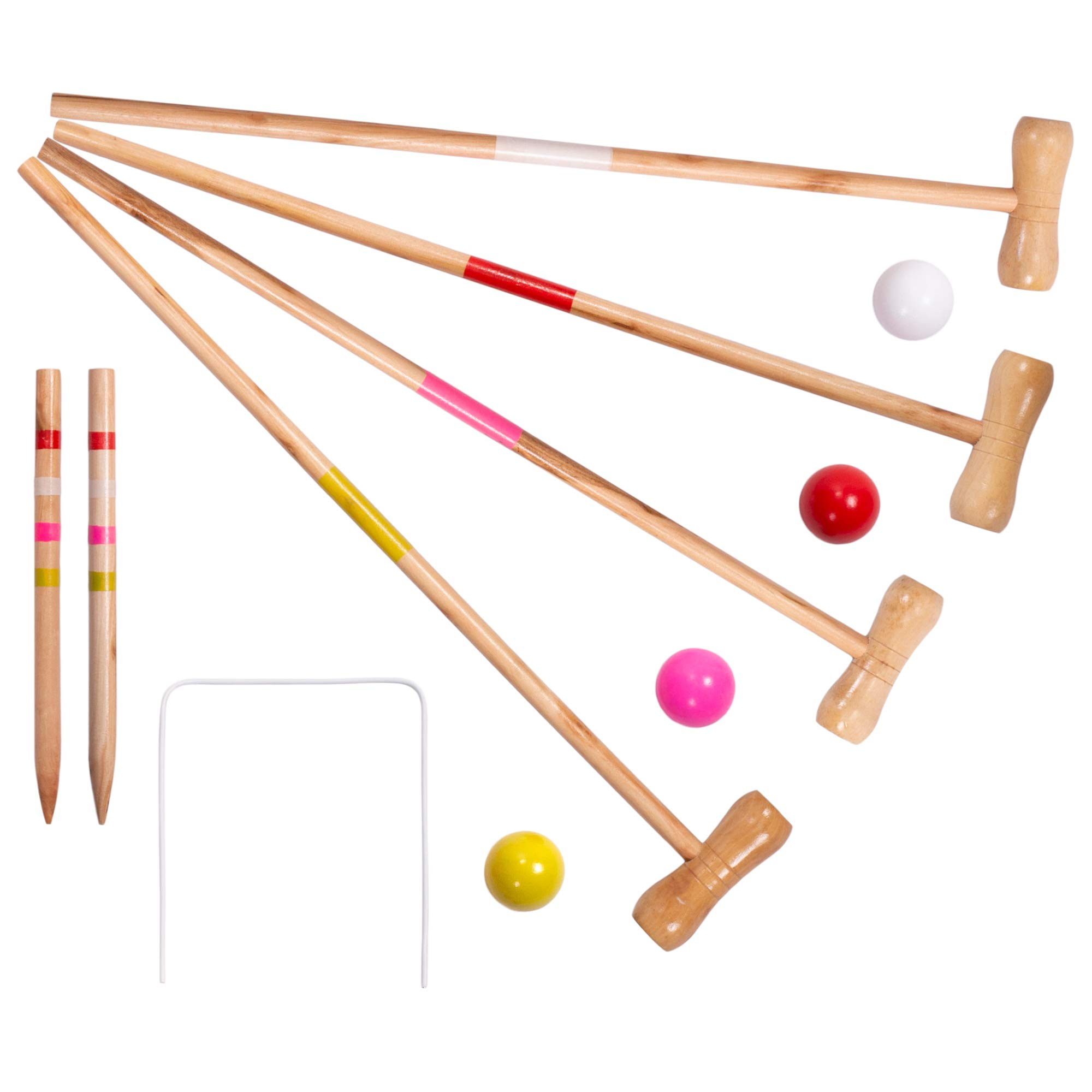 Kids Croquet Set for 4-Players | Classic Outdoor Lawn Game for Children | Great for Birthday Parties, Picnics, BBQs, and More | Comes with Mallets, Balls, Wickets, and a Carrying Bag for Portability by Crown Sporting Goods (Image #2)