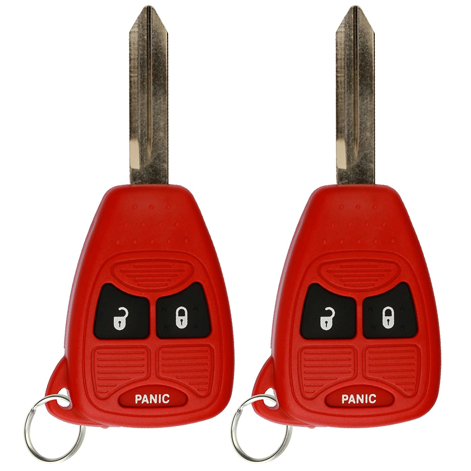 KeylessOption Keyless Entry Remote Control Car Key Fob Replacement for OHT692427AA KOBDT04A Red Pack of 2