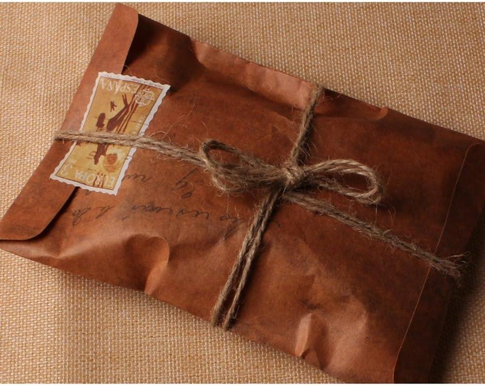 50 bolsas de papel kraft de estilo vintage con cierre de correo