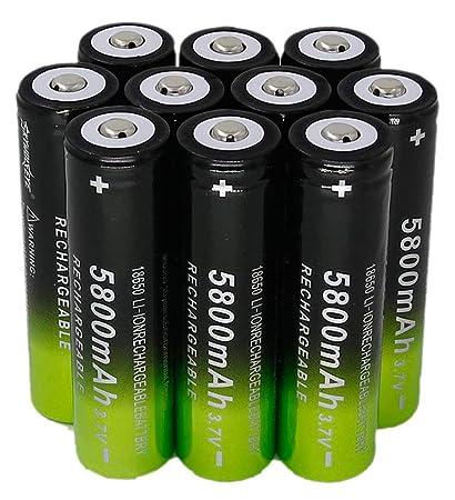 2 PCS 5800mAh Li-ion 18650-Batteries 3.7V Rechargeable Batteries /& 1 PCS Dual Smart Battery Charger For 18650 Flashlight Headlamp /& Electronic Tools