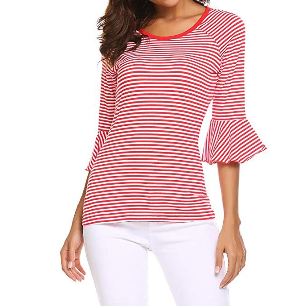 Blouse For Women-Clearance Sale, Farjing Autumn Fashion 3/4 Sleeve Striped Blouse Tops Clothes T Shirt(US:4/S,Red )