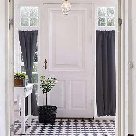 Superior Blackout French Door Curtain For Privacy   Aquazolax Rod Pocket Door Panel  25x72 Thermal Insulated Window