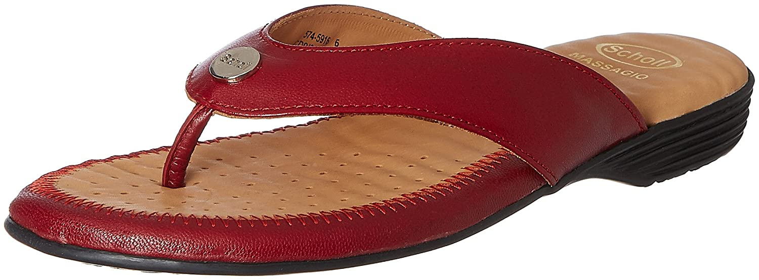 283b90f83 Scholl Women s Flat Trim Thong Leather Slippers  Buy Online at Low Prices  in India - Amazon.in
