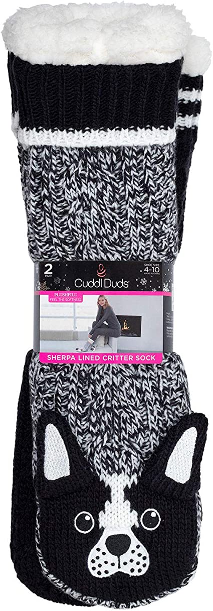 Cuddl Duds Sherpa Lined Lounge SocksPlushfill CabinWomen/'s One Size 4-10