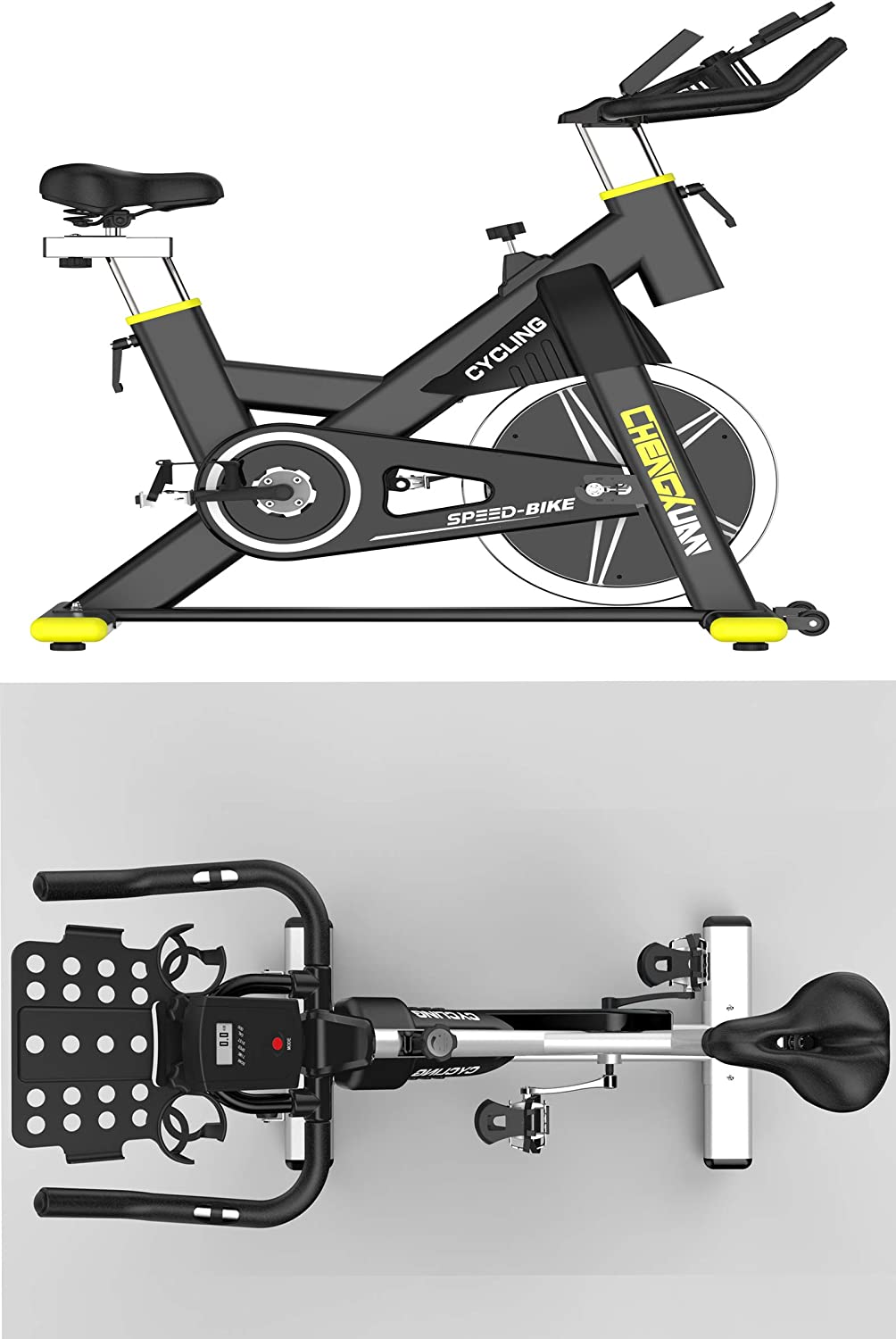 Exercise Bike Indoor Cycling Bike Stationary Exercise Bikes with Adjustable Magnetic Resistance,Heavy Chromed Flywheel,Silent Belt Drive Workout Bike for Home Gym Use,Blue