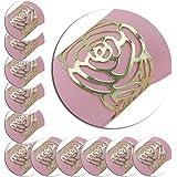 Lot de 12ronds de serviette, creux Out Motif rose avec anneau de métal à dîner guides de chiffon de cuisine couvertures pour mariage Banquet Table Decor