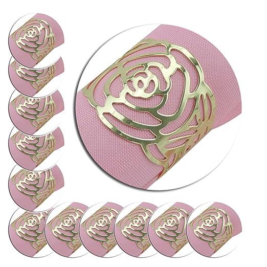 Pack de 12 servilletas anillos, Hollow Out Rose diseño de anillo de metal titulares de gamuza de cena cubiertas para cocina boda banquete cena decoración: Amazon.es: Hogar