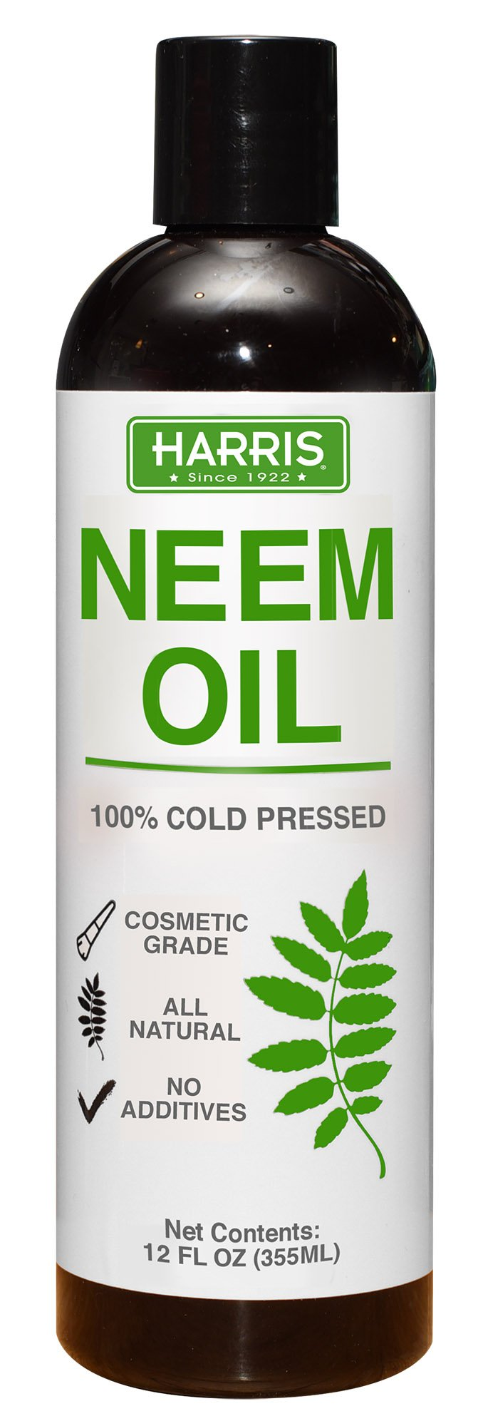 Harris Neem Oil, 100% Cold Pressed and Unrefined for Plants, Skin and Hair, 12oz Cosmetic Grade by Harris