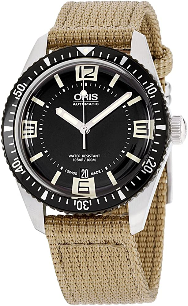 Oris Men s Divers65 Swiss Automatic Stainless Steel and Canvas Casual Watch, Black Model 73377074064LS22
