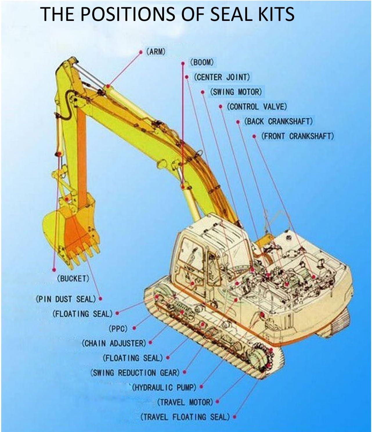 SINOCMP Seal Kits for Komatsu PC200-8 PC200LC-8 Excavator Parts PC200-8 Hydraulic Pump Repair Seal Kit 3 Month Warranty