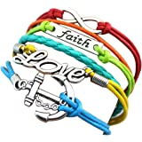 Sasavie Bracelet Tisse 16+5cm Extension Faith Love Infini Ancre
