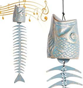 skonhed Fish Shape Windchime,Fish Skeleton Windchime,Fish Bone Cast Iron Wind Chimes, Classical Metal Wind Chimes Outdoor Soothing Melody for Garden Home Yard Porch Hanging Decor