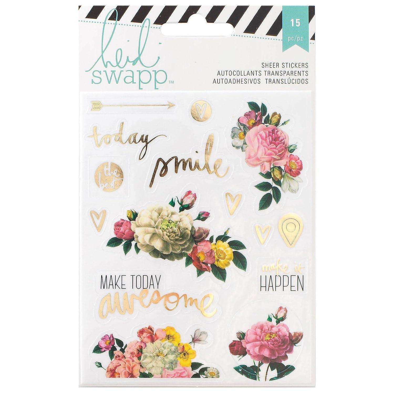 American Crafts, adesivi trasparenti a tema floreale per il memory planner Heidi Swapp, acrilici 312575