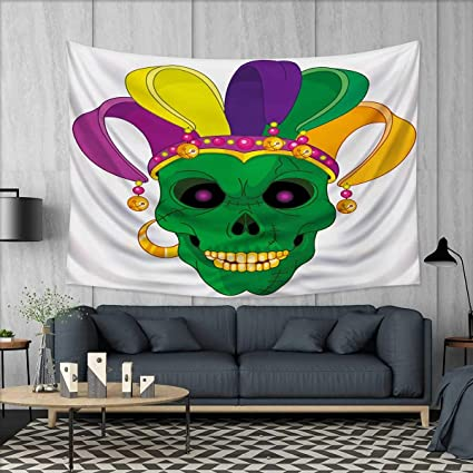 Amazon.com: Anhuthree Mardi Gras Tapestry Wall Tapestry Scary ...