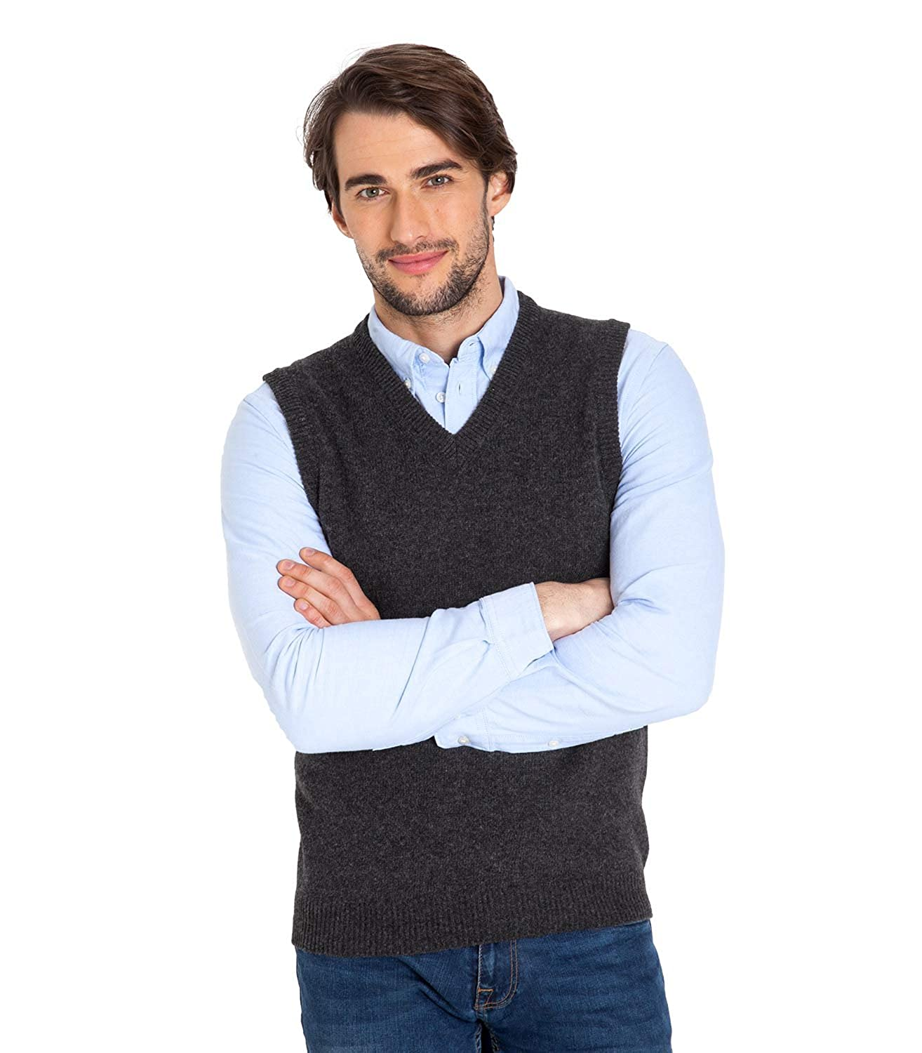 S Woolovers Mens Lambswool Knitted Slipover Charcoal