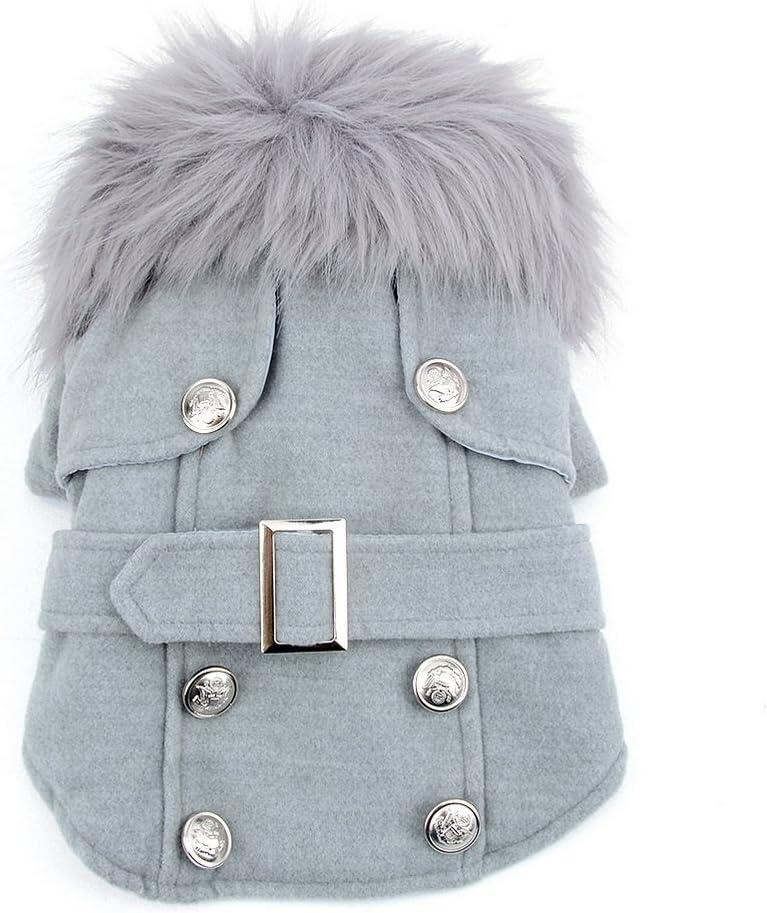 smalllee_lucky_store Abrigo de Cuello de Piel de Lana para Gato (para pequeño Perro o Gato), Disfraz en Color Gris Claro, Talla XL
