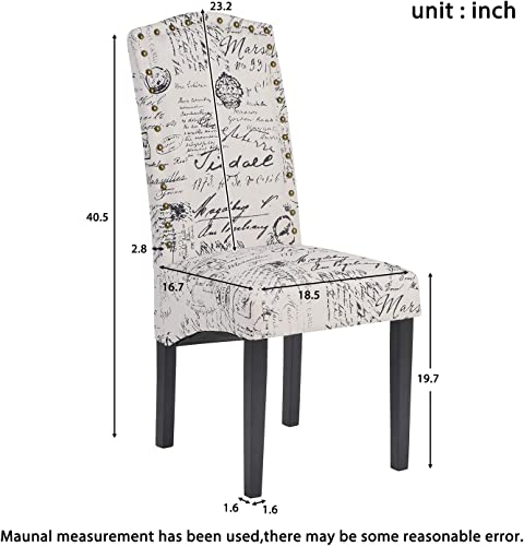 Merax Fabric Dining Chairs Script Fabric Accent Chair