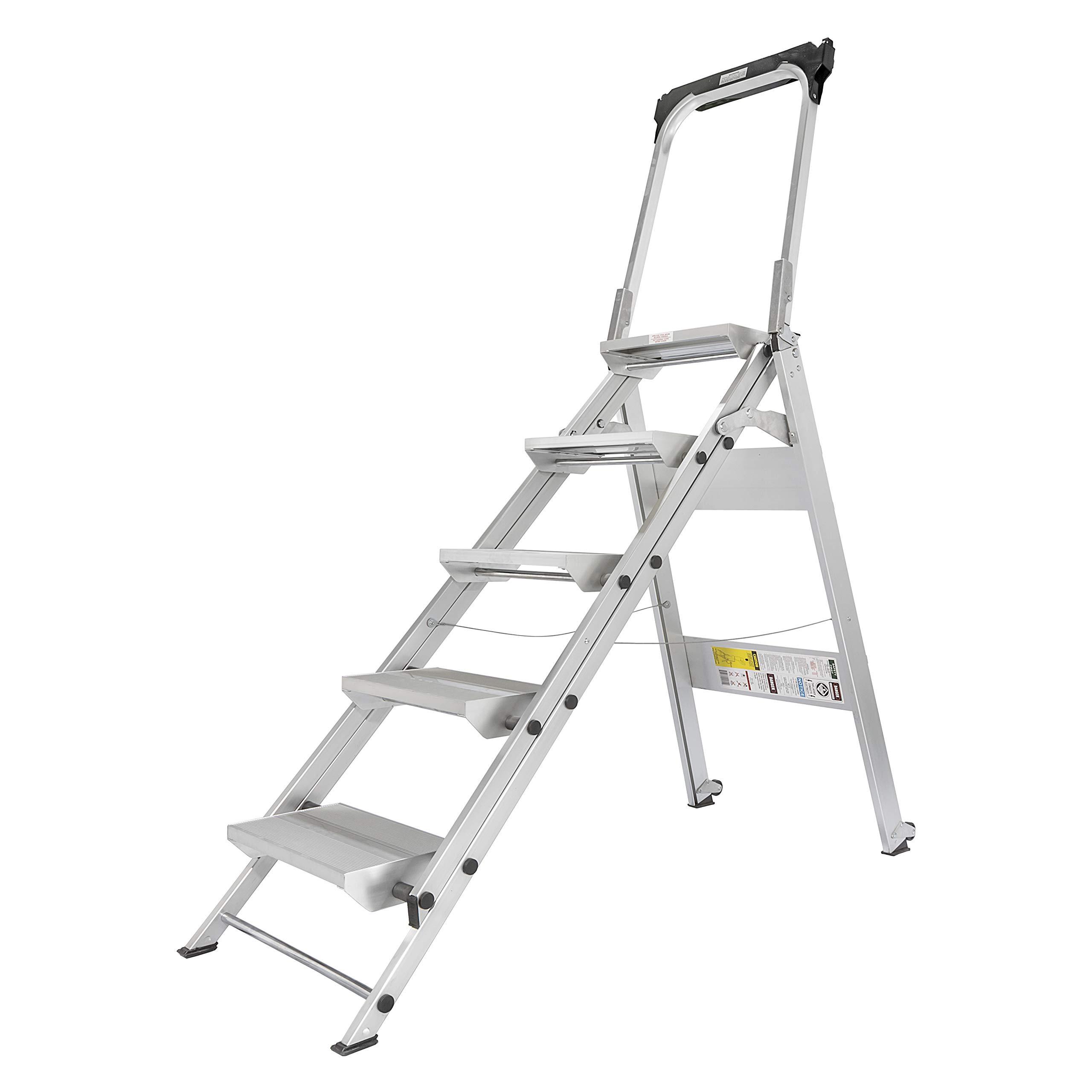 Xtend & Climb WT5 Professional Series Folding Step Stool with Handrail, 5-Step by Xtend & Climb
