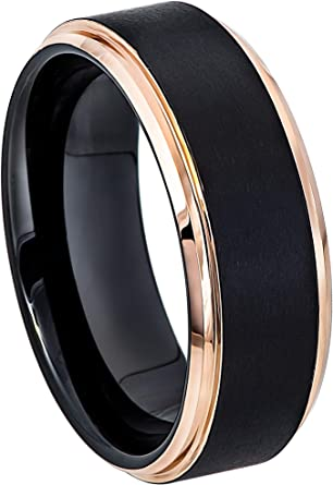 Tungsten Ring Tungsten Wedding Ring Mens Women/'s Wedding Band Promise Anniversary 8mm Black Rose Matching Ring Set Twisted Silver Rope Ring