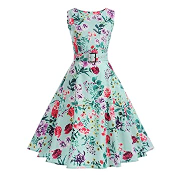 Rakkiss Bodycon Sleeveless Dress Women Vintage Floral Casual Evening Party Prom Swing