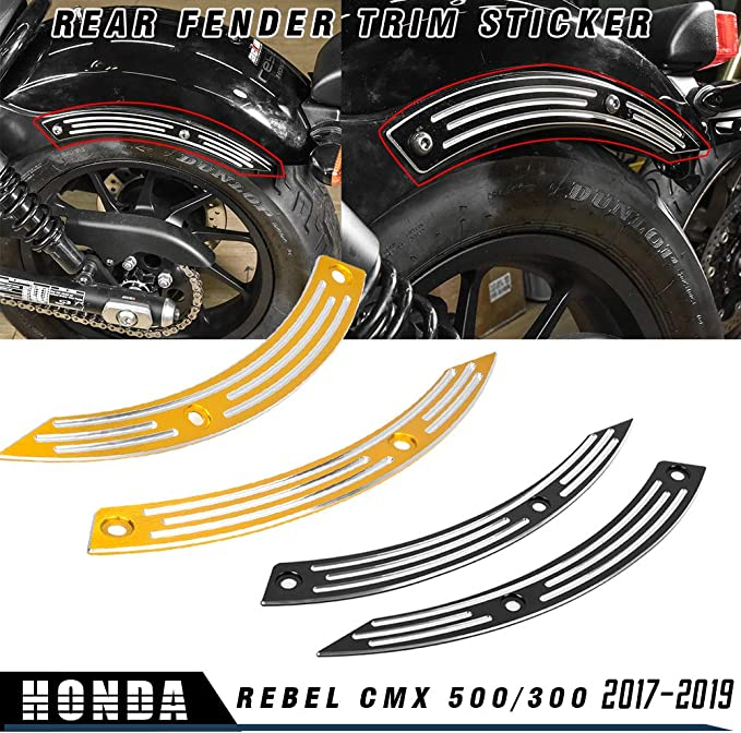 Nero LoraBaber Accessori moto Parafango posteriore Parafango posteriore Parafango posteriore Adesivo Copertura protettore laterale per H-o-n-d-a Rebel CMX 500 CMX 300 CMX500 CMX300 2017 2018 2019