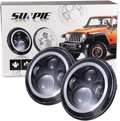 7 Led Headlights Bulb With White Halo Angel Eye Ring Drl Amber Turn Signal Lights For Jeep Wrangler Jk Lj Cj Hummer H1 H2