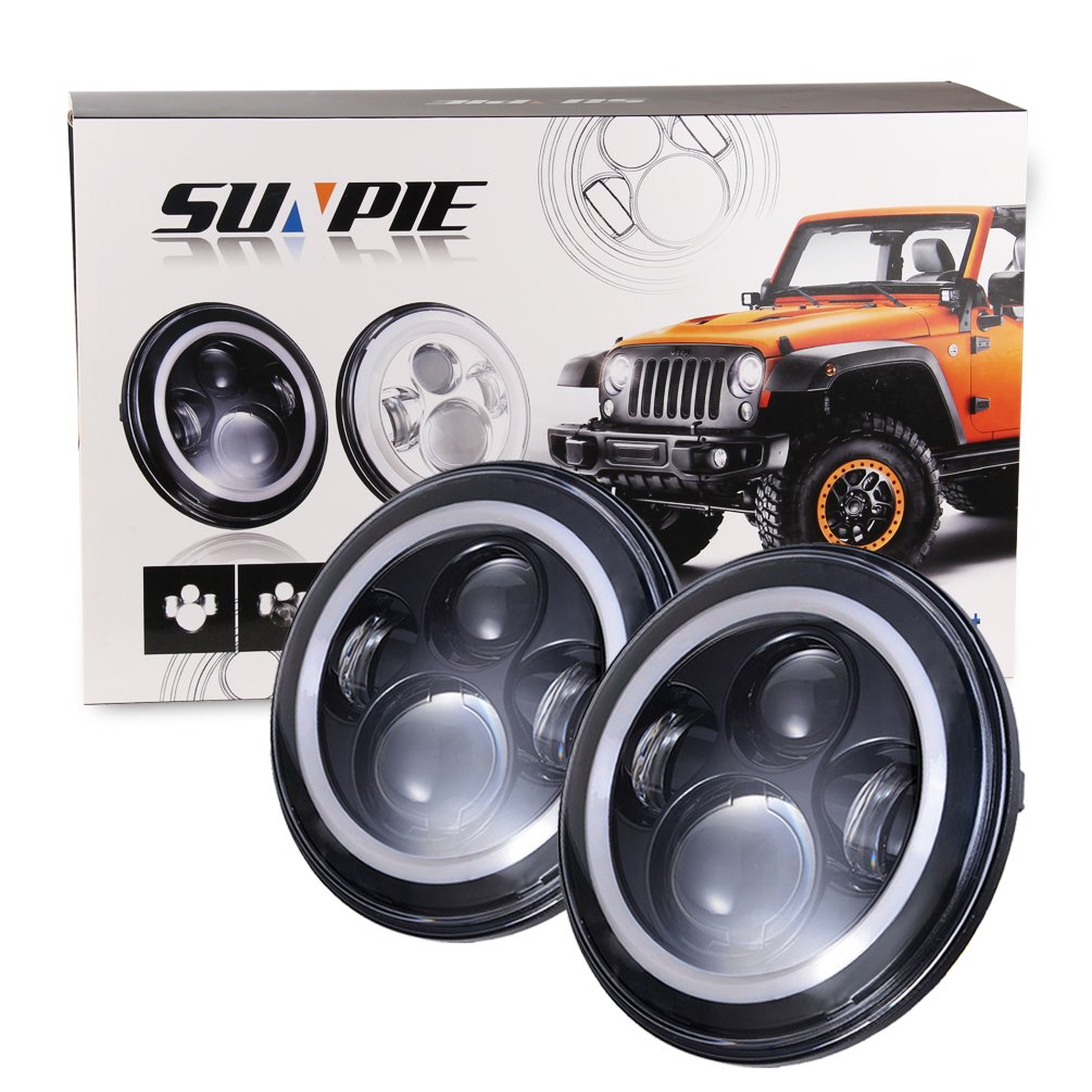 7 Led Headlights Bulb With White Halo Angel Eye Ring 08 Hummer H2 Fuse Box Drl Amber Turn Signal Lights For Jeep Wrangler Jk Lj Cj H1 Automotive