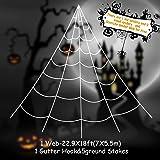 HYRIXDIRECT Outdoor Halloween Decorations Halloween Spider Decoration Triangular Mega Spider Web with Stretch Cobweb Set Party Yard Decor