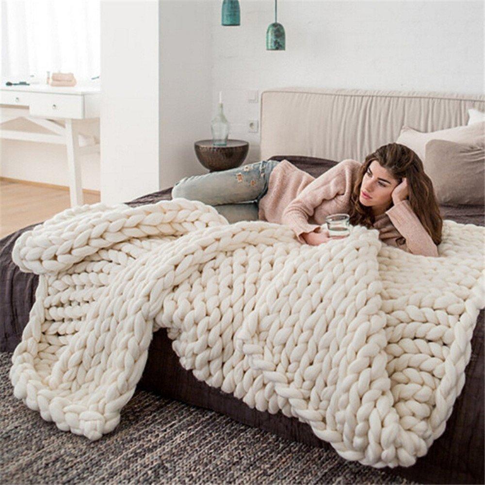 Chunky Knit Decke Handgefertigt mit Hundebett Bodenschutzmatte Teppich Merinowolle Sofa-Strick -, Wolle, beige, 40