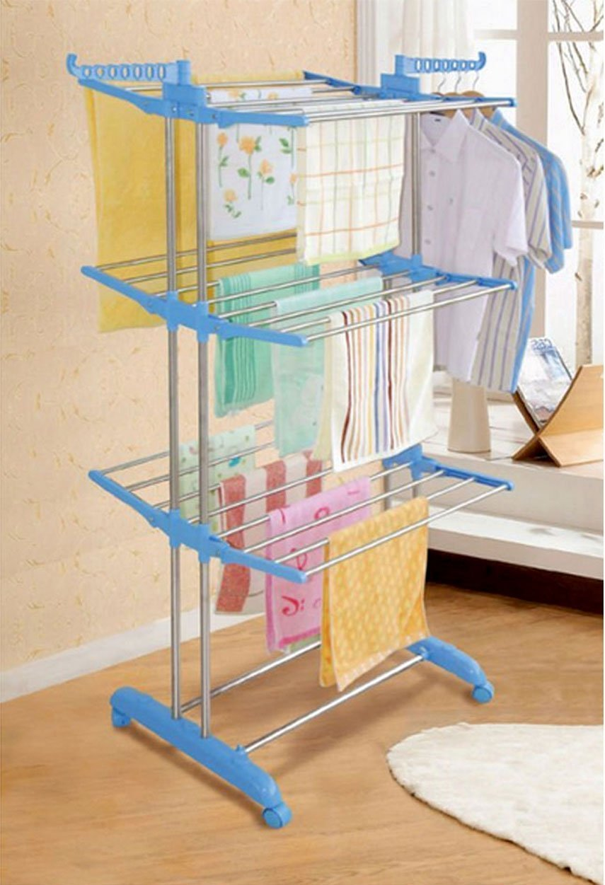 AADYA HiQuality Three Layer Clothes Rack Hanger with Wheels for
