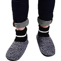 PandaBros(TM) Men Indoor Super Soft Cozy Comfortable Slipper Socks with Anti-Skid Bottom Soles (Strip 7-9.5)