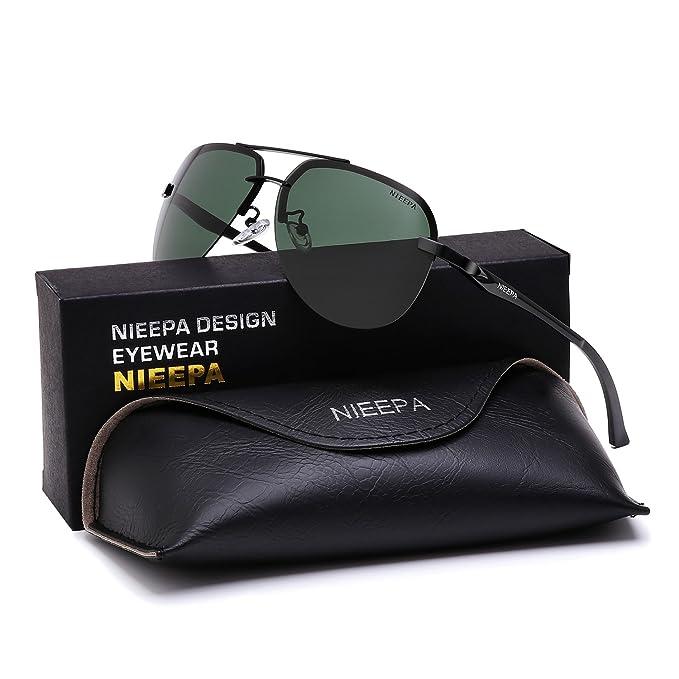 eee433b8ec2f NIEEPA Polarized Aviator Sunglasses For Men Women Half Frame Spring Hinges  Sun Glasses UV400 (Dark