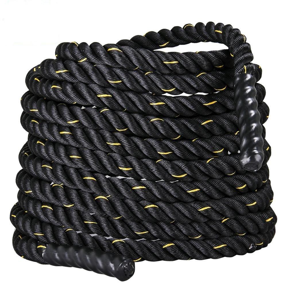 Topeakmart 50ft Heavy Battle Rope 1.5'' Poly Dacron Climbing Training Workout Strength Training Black