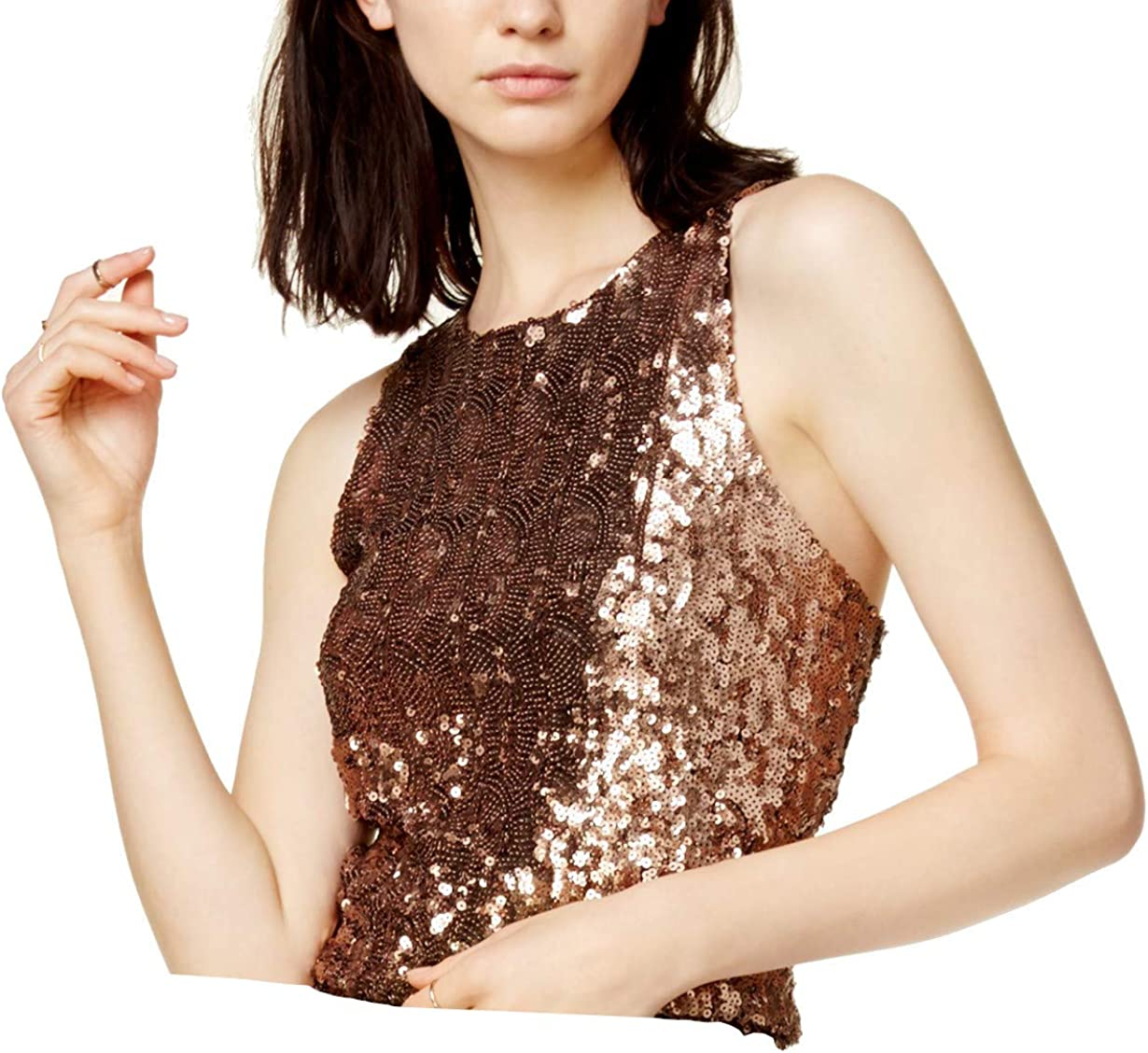 Bar Iii Womens Sequined Sleeveless Crop Top At Amazon Women S Clothing Store