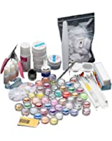 Anboo 27 In 1 Acrylic Nail Art Kit Tips Powder Liquid Brush Glitter Powder Set