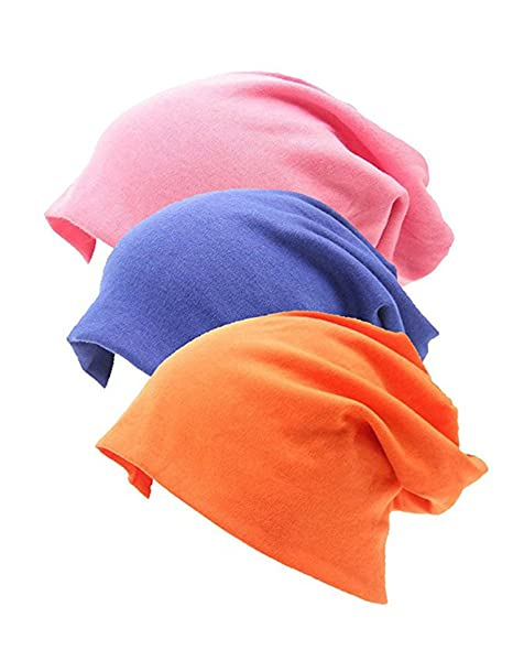 6e2305bf624 3 Pack Unisex Soft Comfy Cotton Beanie Sleep and Chemo Cap Hats for  Hairloss