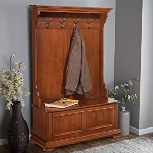 Homestead Distressed Warm Oak Hall Tree & Storage Bench by Home Styles