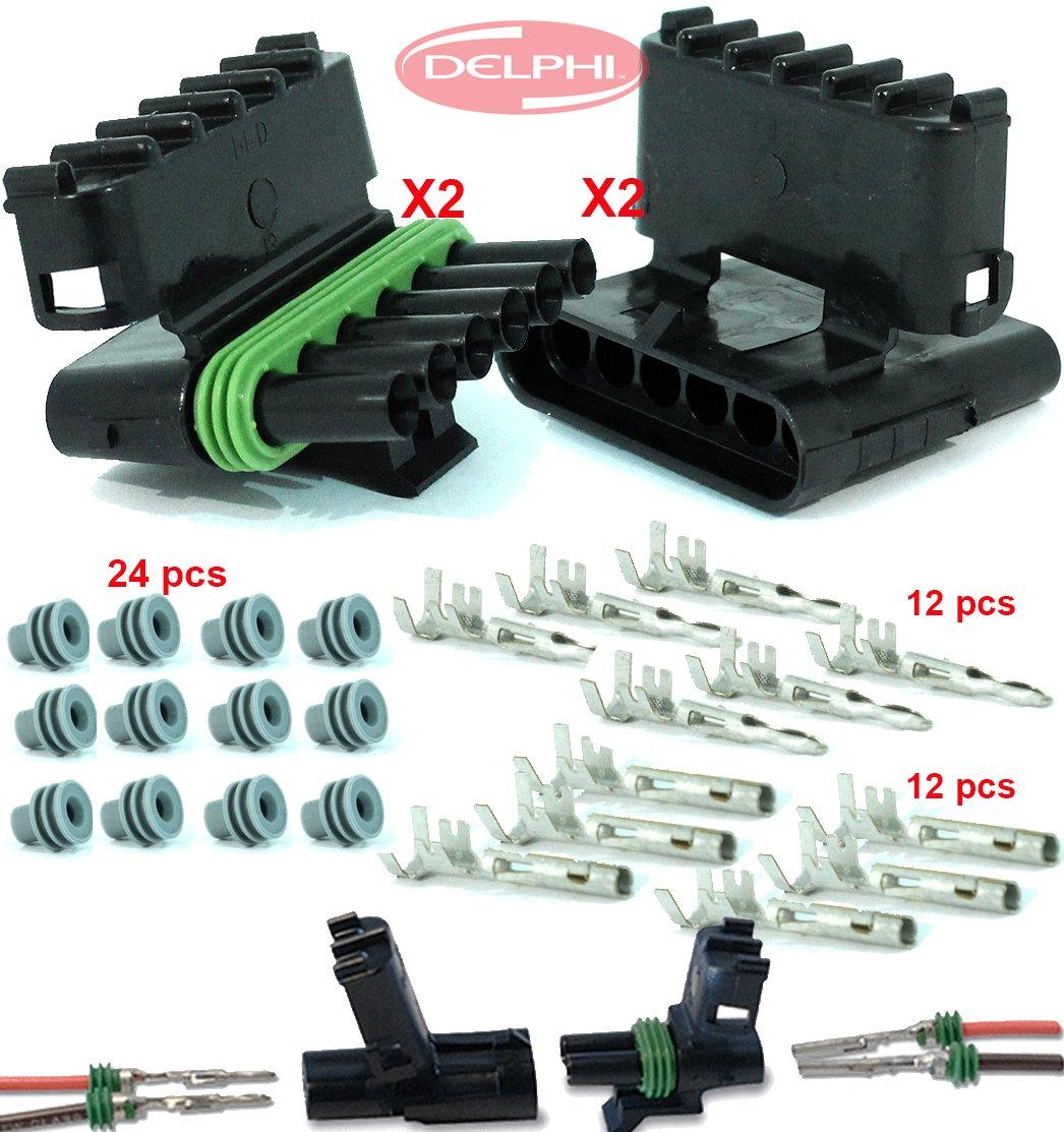 Delphi Packard 2 Completed Set (6 Circuits) Weatherpack, Waterproof, Terminal Kit 14, 16 AWG