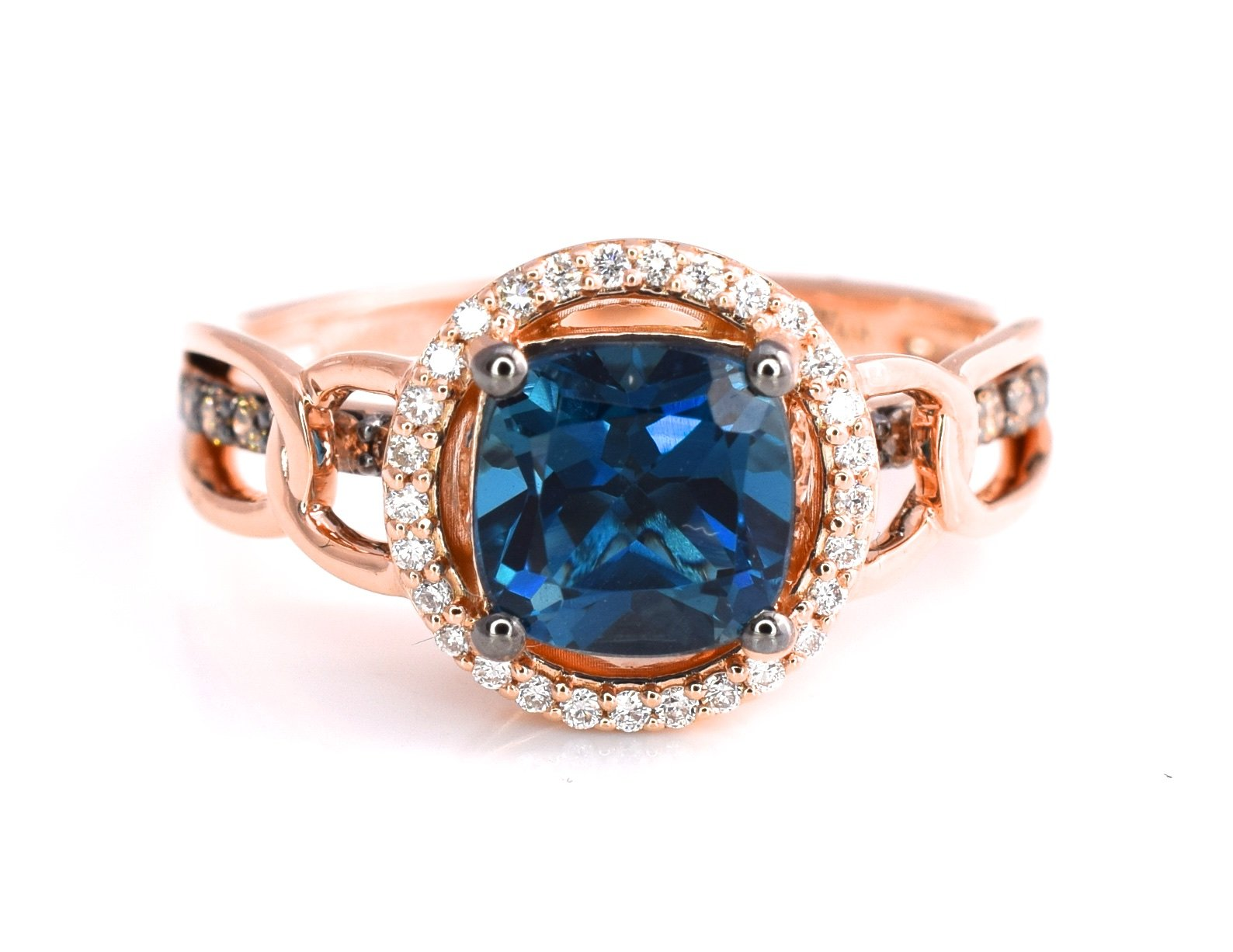 LeVian Deep Sea Blue Topaz Ring Chocolate and Vanilla Diamonds 1.74 cttw 14K Rose Gold Size 7