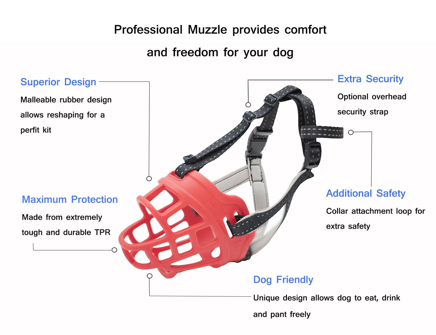 Allows Drinking Breathable and Adjustable CRAZYBOY Silicone Basket Dog Muzzles Panting and Eating L, Black