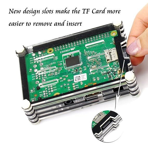 4 en 1 kit profesional para Raspberry Pi 3 & Raspberry Pi Modelo B 2, negras en rodajas 9 Capas caja de la caja de refrigeración + cable USB Mini Fan ...