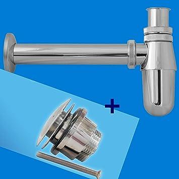 Chrome Bathroom Basin Sink Bottle Waste Trap + Click Clack Plug 1 1/4u0027