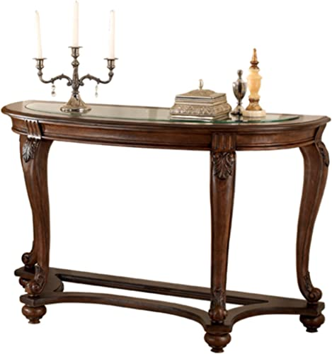 Signature Design by Ashley – Norcastle Traditional Glass Top Semi-Circle Sofa Table, Dark Brown