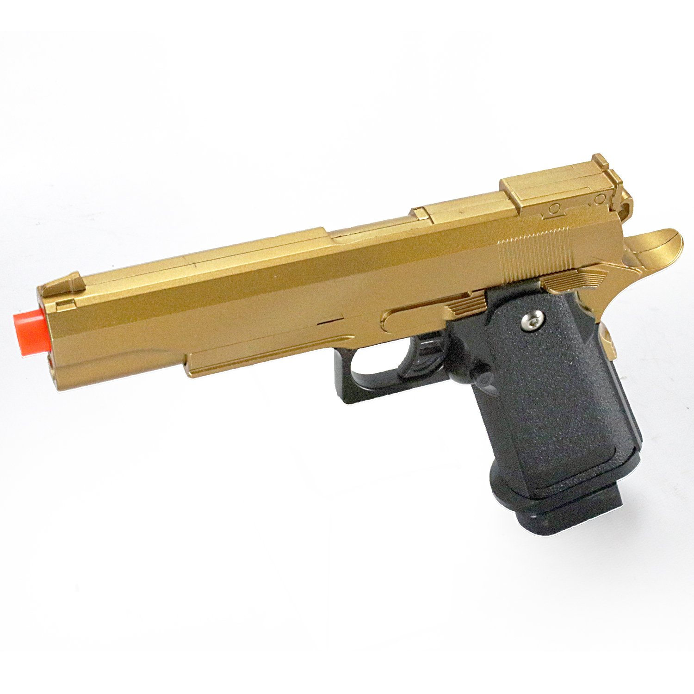 bbtac airsoft pistol bt-g1911 golden 1911 airsoft spring powered pistol gun, zinc alloy construction, aim sights, 300+ fps, with bbtac warranty & tech support(Airsoft Gun) by BBTac