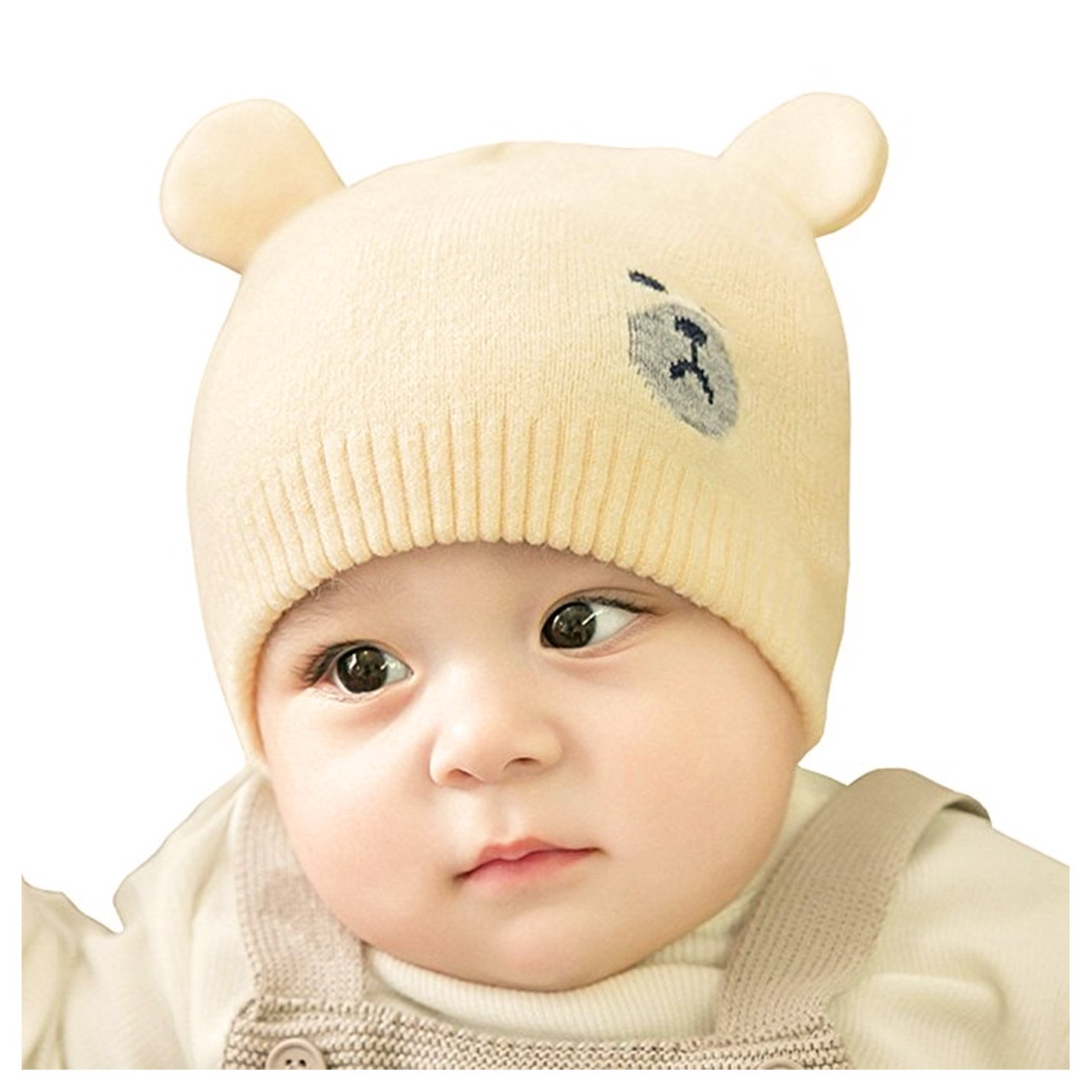 Fighting to Achieve Winter New Warm Kintted Wool Cap Cute Bear Ear Hats for Baby Kids