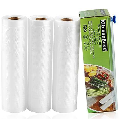 Bolsas de Vacio 3 Rolls 20x500cm con Caja de Corte (No Más Tijeras) para Almacenaje de Alimentos,Sous Vide Cocina, Aprobación de la FDA y BPA Free
