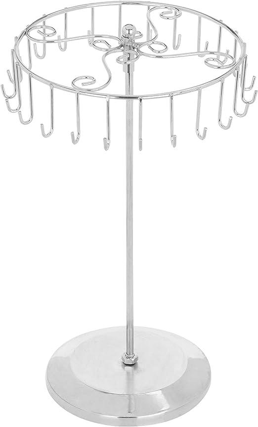 Amazon Com Mygift 14 Inch Silver Rotating Necklace Holder Bracelet Stand Jewelry Organizer Jewelry Tree Home Kitchen