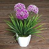 XICHEN Artificial Potted Plant, Hydrangea, 10Inch (Purple)