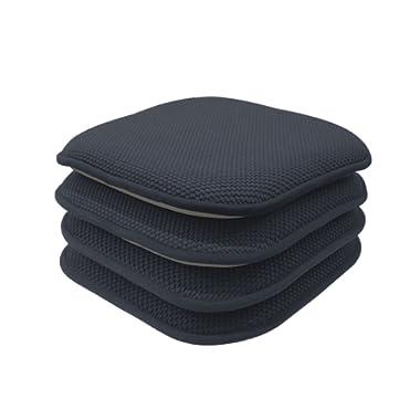 GoodGram 4 Pack Non Slip Honeycomb Premium Comfort Memory Foam Chair Pads/Cushions - Assorted Colors (Charcoal)